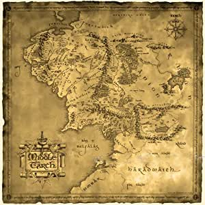 ruimeng vintage cotton lord of the ring middle earth map canvas decorative painting 276