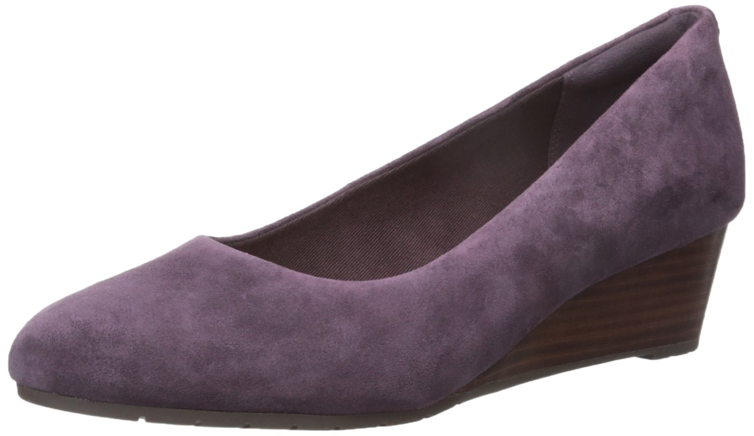 CLARKS Women's Vendra Bloom Wedge Pump B01NALHYYH 11 W US|Vendra Bloom Aubergine Suede