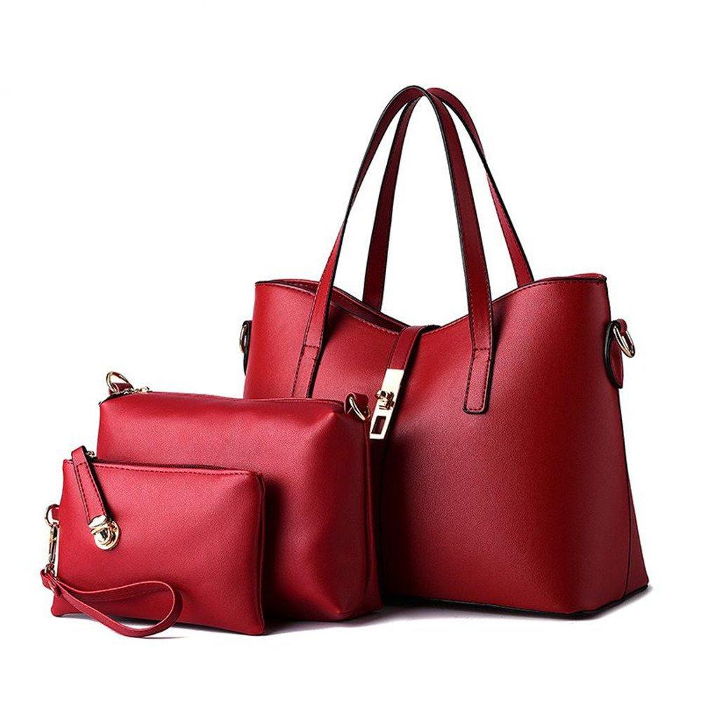 6326b8398d7d 3pc Lady Women's Faux Leather Shoulder Tote Bag Business Top-handle  Handbags Wallet Purse Set