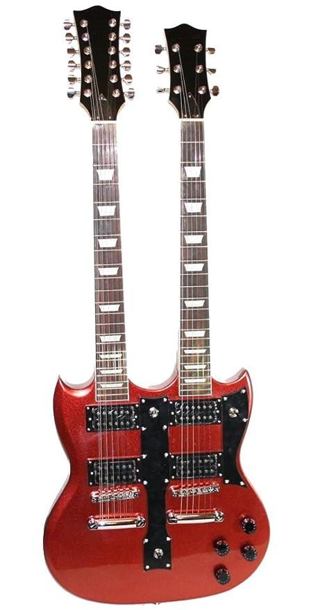 Guitarra eléctrica doble mango 6 + 12 cuerdas rojo: Amazon.es: Instrumentos musicales