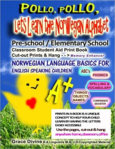 Pollo Elementary School Classroom Student Aid Print Book Cut-out Prints /& Hang Lets Learn the Norwegian Alphabet Pre-school Memory Enhancer Norwegian Language Basics for English Speaking Children Pollo