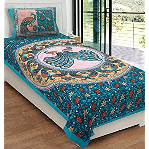 RajasthaniKart® Comfort Rajasthani Jaipuri Traditional Sanganeri Print 144 TC 100% Cotton Single Bedsheet with 1 Pillow…