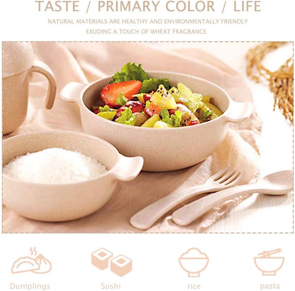 para ni/ños//ni/ños peque/ños//beb/és Respetuoso con el Medio Ambiente Cuenco para Cereales//Juego de vajilla RETON Cuencos para ni/ños de Paja de Trigo 4 Cuencos y 4 cucharas sin BPA irrompible