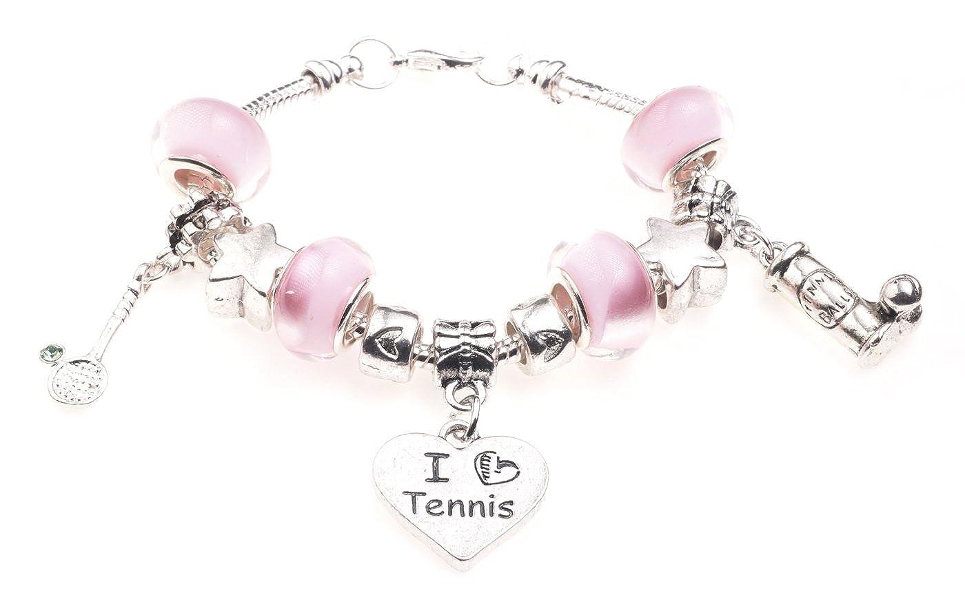 'I love Tennis' Motto Kinder Charm Armband mit Geschenk-Box Mädchen Schmuck Jewellery Hut BRkidsILTennis