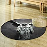 Nalahomeqq Sculptures Decor Collection Sculpture of an Angel with Dark Background Catholic Belief Century Old Artwork Pattern Polyester Fabric Room Circle carpet non-slip Dimgrey-Diameter 150cm(59'')
