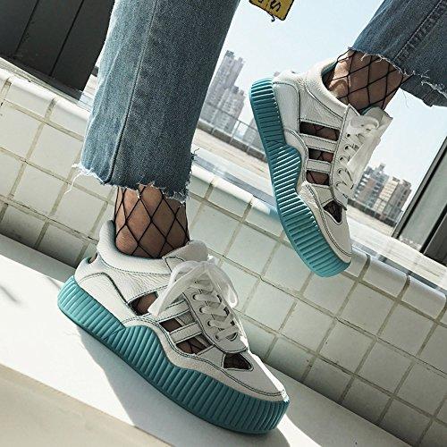 Blanco Mujer Femenino La Huecos Zapatos Ocasionales De Gruesos Haizhen Los Del Transpirables Deportes Rosado Sandalias Manera Para Verano Mujeres Estudiantes Azul ETqnTzOt