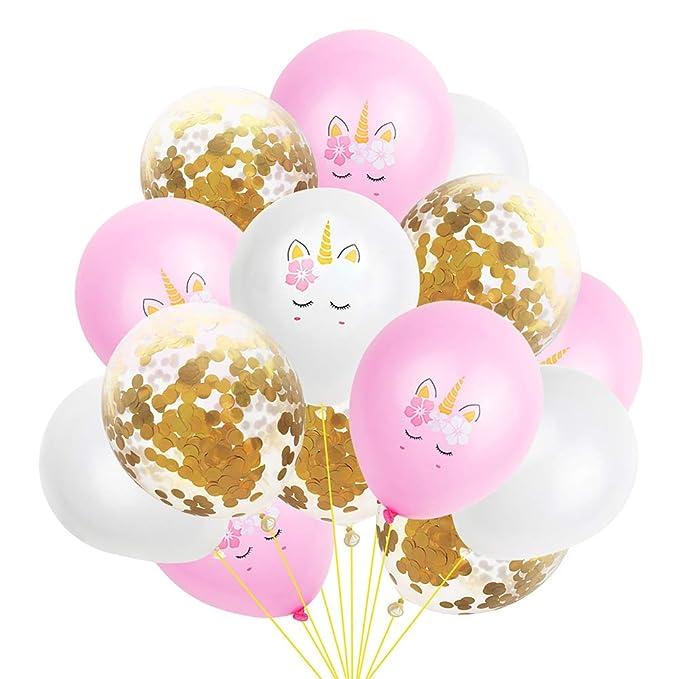 Amazon.com: Látex Kawaii Unicornio globos de látex y oro ...
