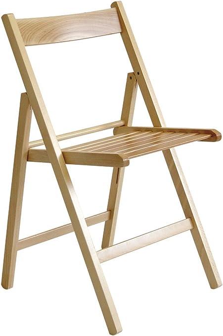 Valdomo Lot de 4 chaises pliantes, en bois massif de noyer