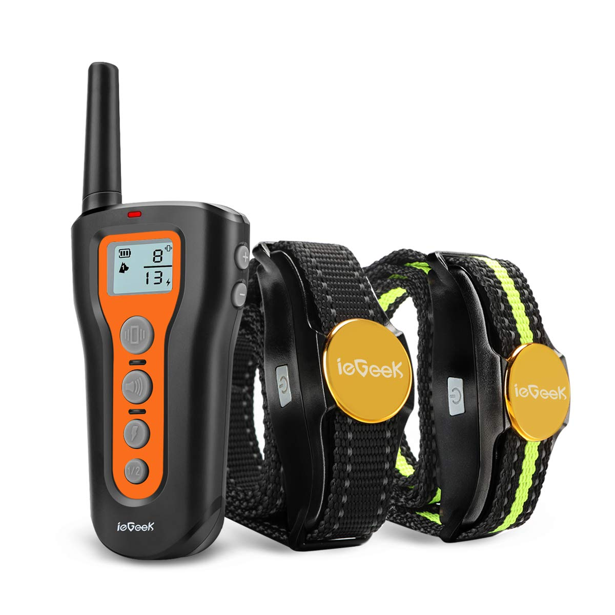 ieGeek Dog Training Collar for 2 Dogs Shock Collars with Remote Up to 1000ft, Upgraded Rechargeable Waterproof Electric Sport Dog E-Collar with Beep, Vibration and Shock for Small Medium Large Dogs