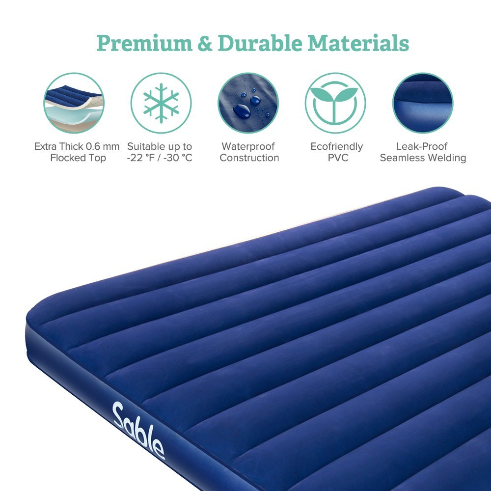 Sable Camping Air Mattress Queen Size Upgrade Inflatable AirBed Blow up Bed for Car Tent Camping Hiking Backpacking Height 8