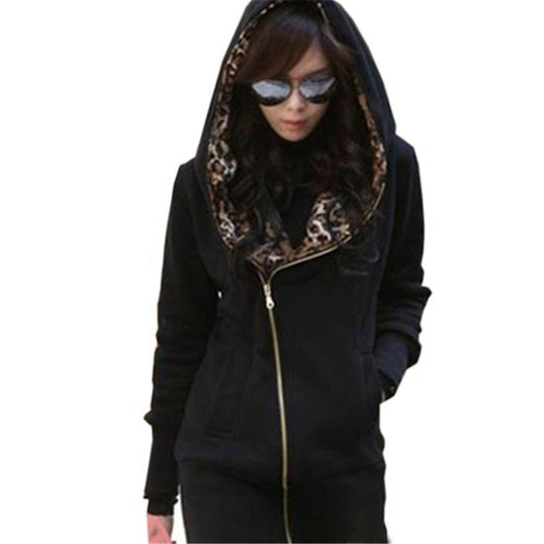 a831187678b best Minetom Mujer Otoño Invierno Capucha Chaqueta Leopardo Encapuchado  Largo Abrigos Camisa De Jersey