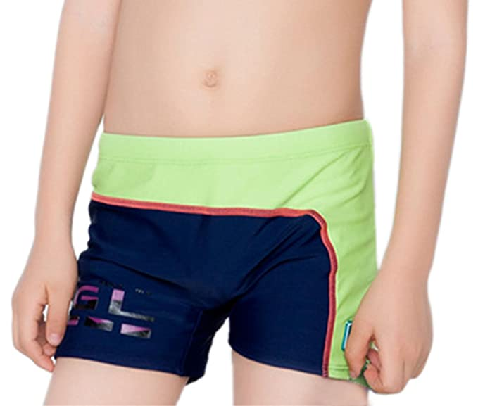 5c5cd38216820 Boys Swim Shorts Two-Color Stitching Swimming Trunks Bottoms with Cap  Polyester Boys Swim Boxer