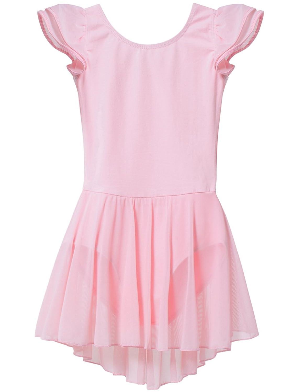 204b07edab Amazon.com  MdnMd Girls  Flutter Sleeve Skirted Leotard  Clothing