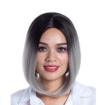 Amazon Com Bob Wig Brown To Grey Ombre Wigs Shoulder Length Short