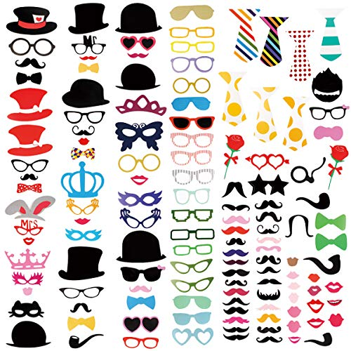 Kidcheer Photo Booth Props 128pcs DIY Kit for Wedding, Birthday, Party, Photo Booth Novelty Dress Up Accessories Party Decorations Supplies