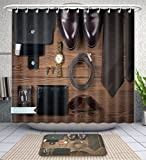 Unique Custom Bathroom 2-Piece Set Wood Texture Men S Everyday Objects On A Dark Background Business Meeting Accessories For The Shower Curtains And Bath Mats Set, 71''Wx79''H & 31''Wx20''H