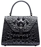 Pifuren Embossed Crocodile Leather Tote Satchel Top Handle Bag M2205 (Small Size, Black)