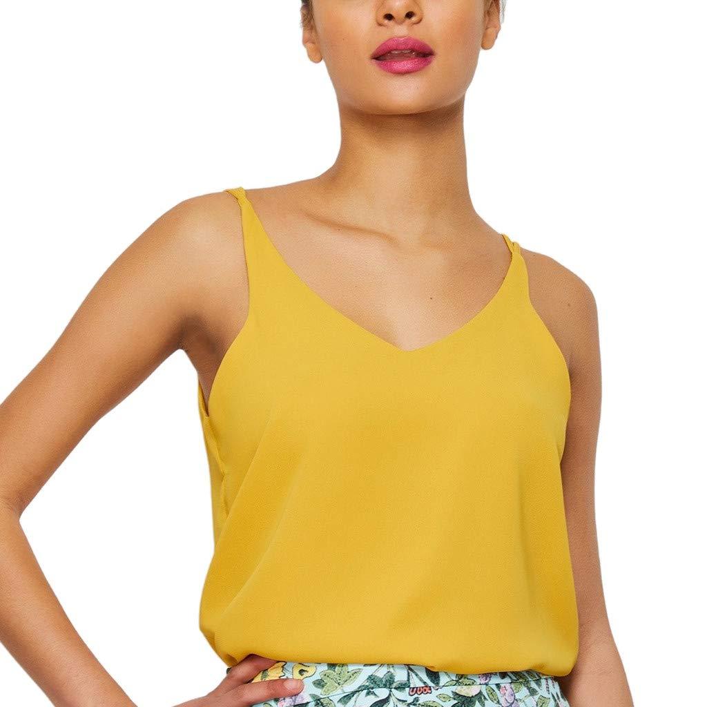 Giulot Women's Basic Spaghetti Strap Casual Cami Tank Tops V-Neck Plus Size Loose Shirt Blouse Yellow