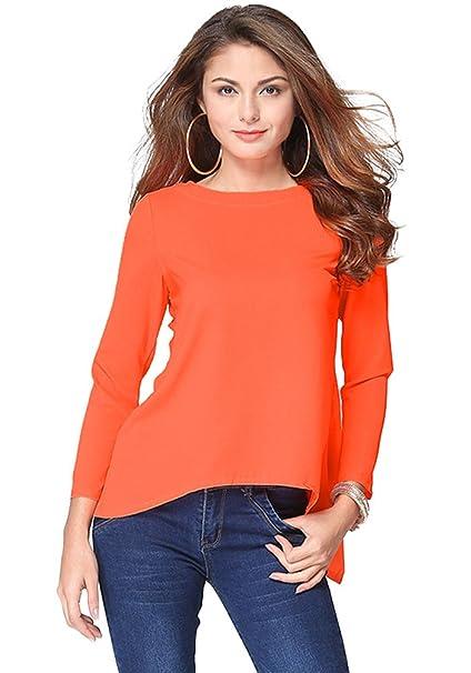 misseurous Mujer de cuello redondo manga larga Fashion Plus tamaño blusa de Gasa: Amazon.es: Ropa y accesorios