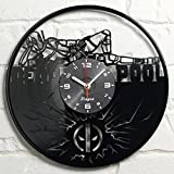 Cheap Deadpool Vinyl Clock Marvel Wall Art Home Decor Record Wall Clock Superhero Comics Decorations Vintage Kids Room Decor Birthday Gift Movie Decal Children's Gift Idea Decor for Bedroom and Kitchen