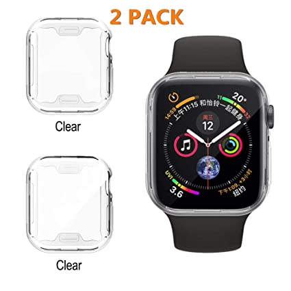 2 Pack Screen Protector Compatible with Apple Watch Series 4, UBOLE Plated TPU All-Around Full Front Protective Case Clear Ultra-Thin Cover for Apple ...