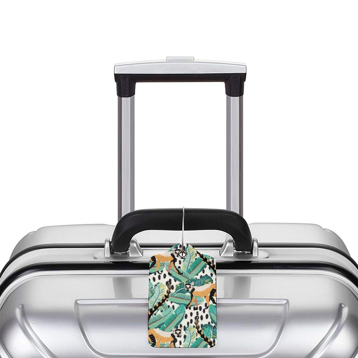 Tropical Ring-tailed Lemur Luggage Tag Label Travel Bag Label With Privacy Cover Luggage Tag Leather Personalized Suitcase Tag Travel Accessories