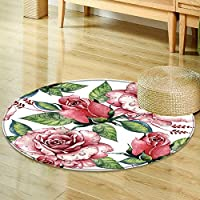 Round Rug Kid Carpetwildflower rose flower pattern in a watercolor style isolated full name Home Decor Foor Carpe-Round 39