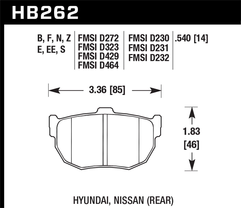 Hawk Performance HB262F.540 HPS Performance Ceramic Brake Pad
