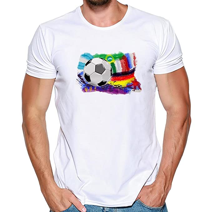 0bb0992e9f061 ... Summer Short Sleeve Round Neck World Cup Printed Tee Shirt Casual Plus  Size Cotton Tank Tops Blouse Sports Gym Vest T-Shirt  Amazon.co.uk  Clothing