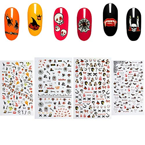 Halloween Nail Art Stickers 4 Sheets Self-adhesive Nail Toe Tattoo Decals Sticker Wraps for Manicure DIY or Nail Salon. -