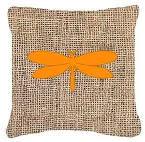 "Caroline's Treasures Moth Burlap & Orange Canvas Fabric Decorative Pillow, 14"" x 14"", Multicolor"