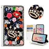 STENES Moto X4 Case - Stylish - 3D Handmade Bling Crystal Crown Sexy Lips Rose Floral Wallet Credit Card Slots Fold Media Stand Leather Cover for Motorola Moto X4 - Black