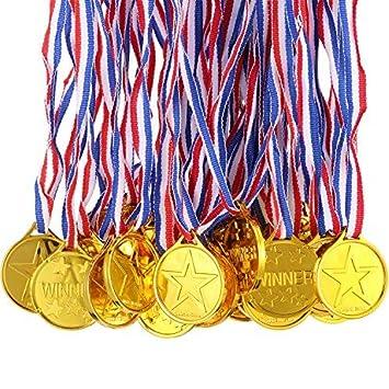 Gejoy 100 Packs Gold Plastic Winner Medals Kids Golden Winner Awards Medals
