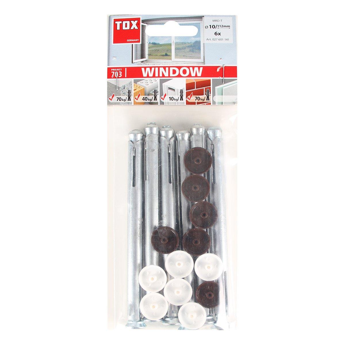 100 piezas TOX Taco para marcos met/álico Window 10 x 112 mm 02710114