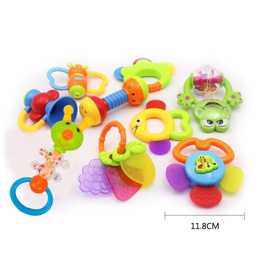 f/ür 3 6 WISHTIME Baby erstes Rassel und Bei/ßring Spielzeug Babyspielzeug BPA frei Baby 10 St/ücke sch/ütteln Rassel Bei/ßringe Fr/üherziehung Spielzeug f/ür Neugeborene 12 Monate 9