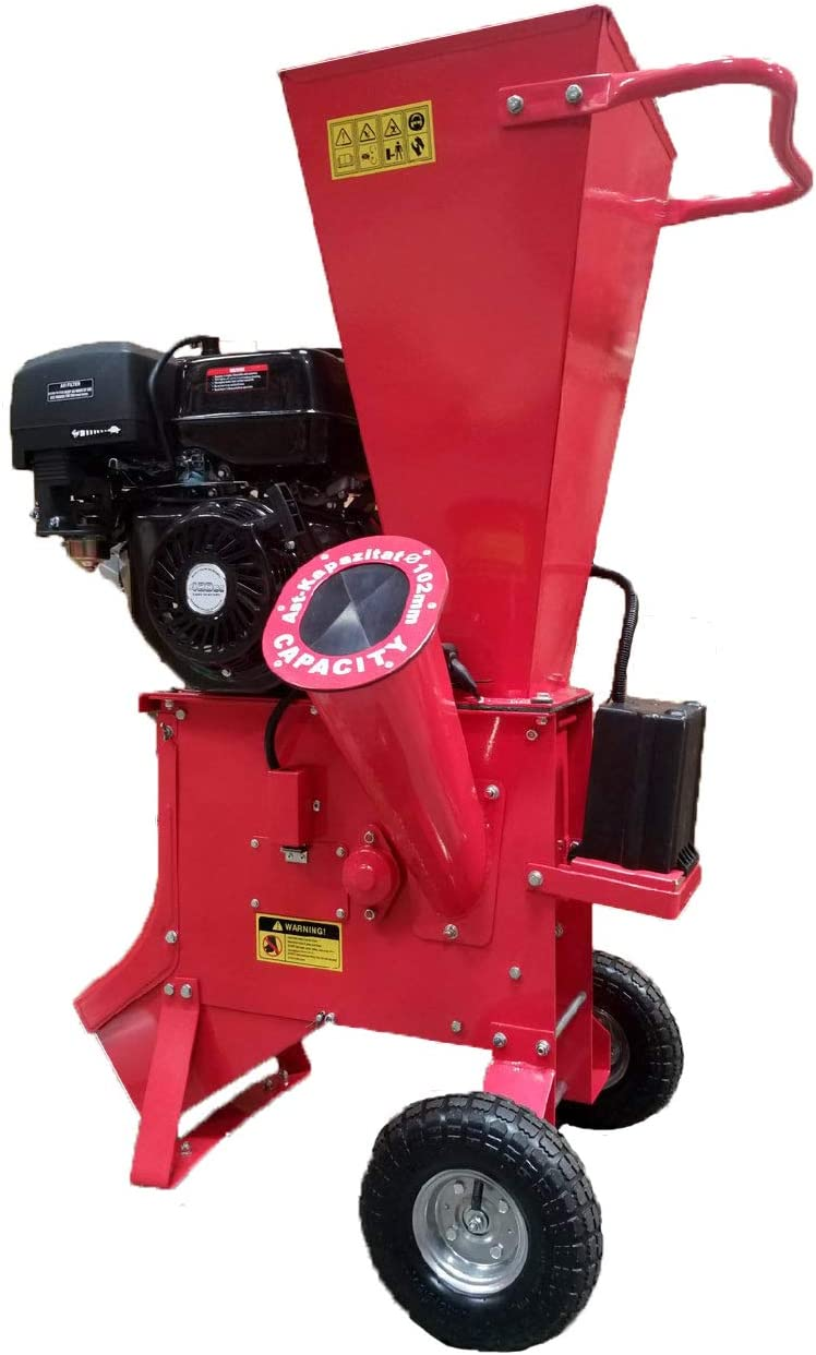 """15HP 420CC Gas Powered Wood Chipper Shredder Mulcher, 4"""" Capacity, with Mulch Bag and Electric Start"""