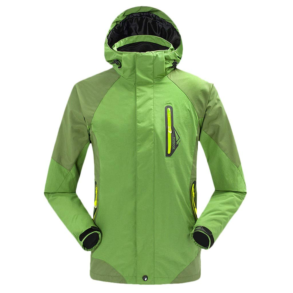 Botrong Men Winter Hooded Softshell Windproof Waterproof Soft Coat Shell Jacket (Green,XL) by Botrong