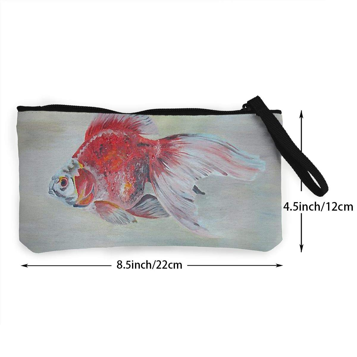 Canvas Cash Coin Purse,Red And White Fish Print Make Up Bag Zipper Small Purse Wallets