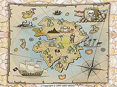 Island Map Decor Fleece Throw Blanket Cartoon Treasure Island with Pirate Ship Chest Kraken Octopus Nautical Kids Playroom Decor Throw Multi