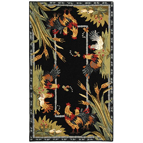 (Safavieh Chelsea Collection HK56B Hand-Hooked Black Premium Wool Area Rug (3'9