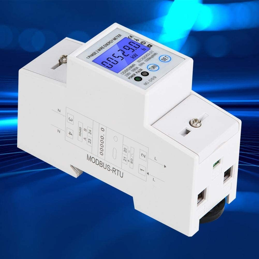 Beennex DDS529MR Single-Phase Electric Energy Meter LCD Digital Display 230V 2P DIN Rail Power Meter with RS485