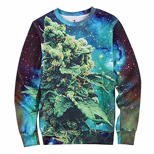 rint Coral Weed Green High Street Galaxy Hoodies Sweatshirts (S) ()