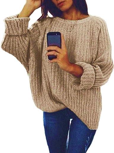 Luiyy Jersey Punto Mujer Invierno Jersey Cuello Alto Camiseta ...