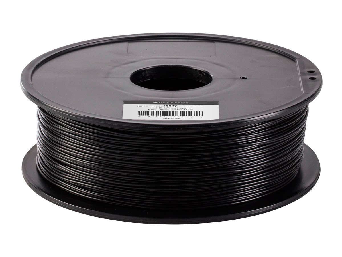 1kg Monoprice ABS Plus+ Premium 3D Filament 40/% Stronger Than Ordinary ABS For All ABS Compatible Printers 115848 Black 1.75mm Thick