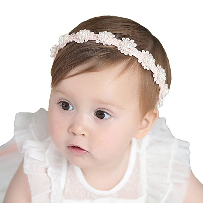 Image Unavailable. Image not available for. Color  RQJ Baby Girls Pearl Headbands  with Bows Turban Headwraps Hair Accessories(Pink) b3a2f4996381