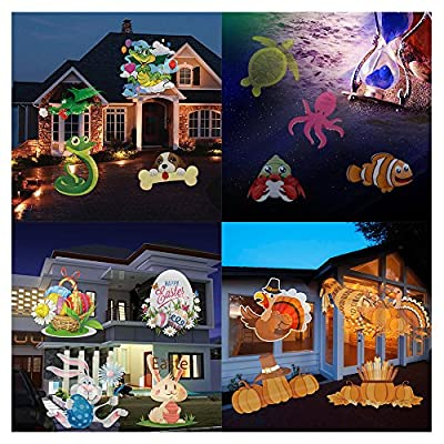 LOHOME Outdoor Light Projector - Snowflakes Santa Claus Spotlight Lamp Wall and Tree Christmas Holiday Garden Landscape Decoration Projector Light Including 16 Lens