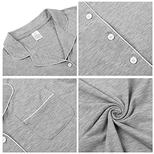 TIKTIK Pajamas Set Short Sleeve Sleepwear Womens Button Down Nightwear Soft Pj Lounge Sets with Pocket S-4XL, Heather Grey, Medium