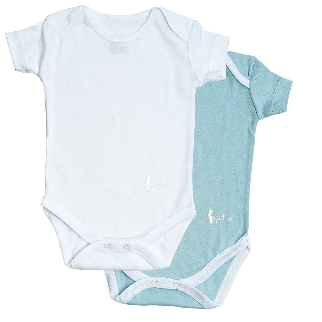 Feathers Baby Boys Blue/White 100% cotton super soft Onesies Undershirts 2-Pack