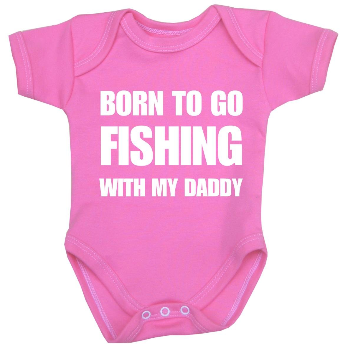 BabyPrem Baby Fishing with My Daddy Fun Clothes Bodysuit Vest One-Piece PINK 0-3
