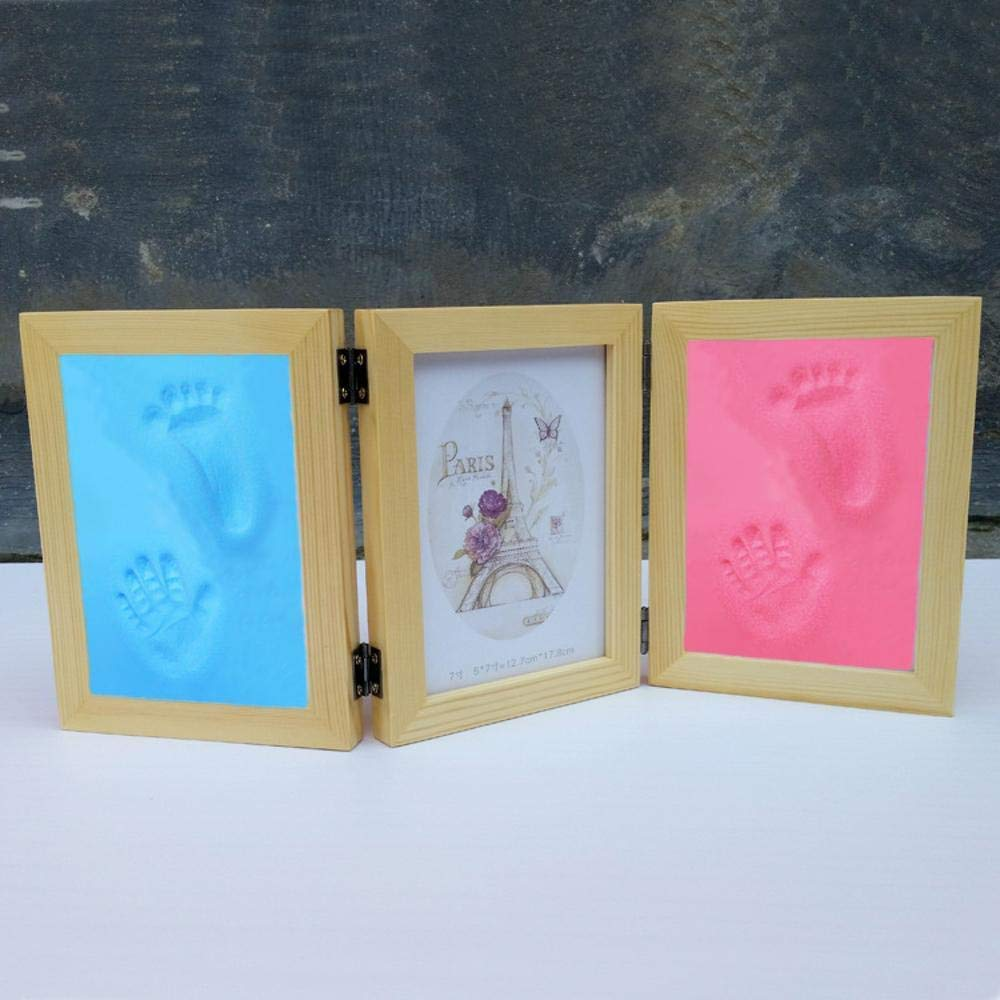 Der Picture Frame Baby Hand-Foot Photo Frame Baby Commemorative Photo Frame Solid Wood Photo Frame Record Every Important Moment (Color : C)